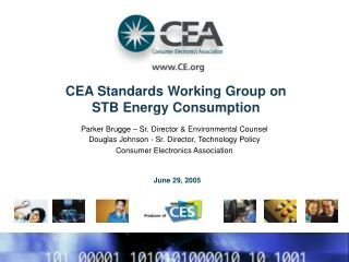 CEA Standards Working Group on STB Energy Consumption