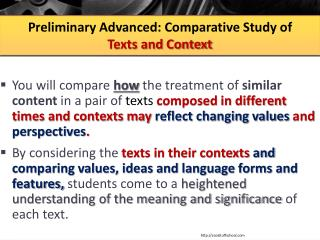 Preliminary Advanced:  Comparative Study of  Texts  and Context