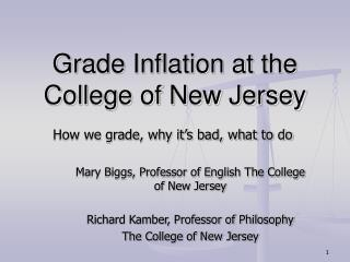 Grade Inflation at the College of New Jersey