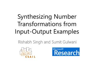 Synthesizing Number Transformations from  Input-Output Examples