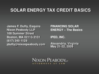 SOLAR ENERGY TAX CREDIT BASICS