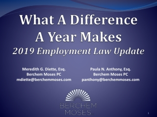 What A Difference A Year Makes 2019 Employment Law Update