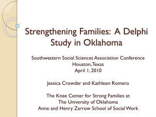 Strengthening Families:  A Delphi Study in Oklahoma