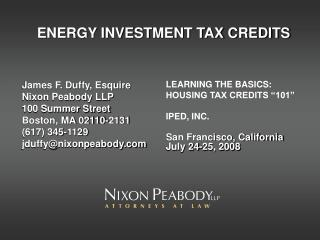 ENERGY INVESTMENT TAX CREDITS