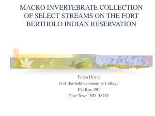 MACRO INVERTEBRATE COLLECTION OF SELECT STREAMS ON THE FORT BERTHOLD INDIAN RESERVATION