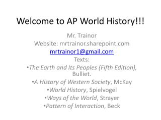 Welcome to AP World History!!!