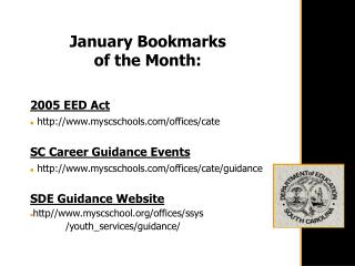 January Bookmarks  of the Month: 2005 EED Act myscschools/offices/cate