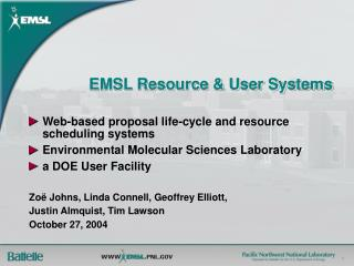 EMSL Resource & User Systems