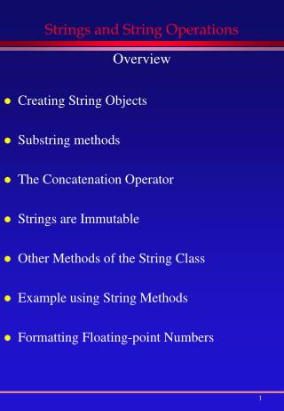 Strings and String Operations