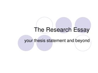 The Research Essay