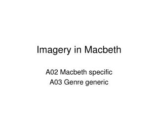 Imagery in Macbeth
