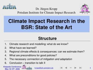 Climate Impact Research in the BSR: State of the Art