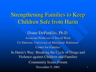Strengthening Families to Keep Children Safe from Harm
