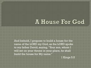 A House For  God