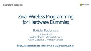 Ziria: Wireless Programming  for Hardware Dummies