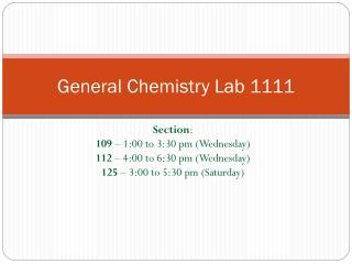General Chemistry Lab 1111