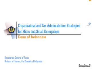 Organizatinal and Tax Administration Strategies  for Micro and Small Enterprises