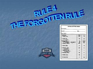 RULE 4 THE FORGOTTEN RULE