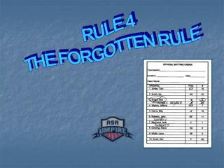 RULE 4 THE FORGOTTEN RULE