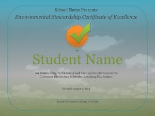 Environmental Stewardship Certificate of Excellence