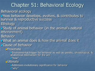 Chapter 51: Behavioral Ecology