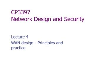 CP3397  Network Design and Security