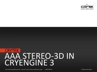 AAA Stereo-3D in CryEngine 3