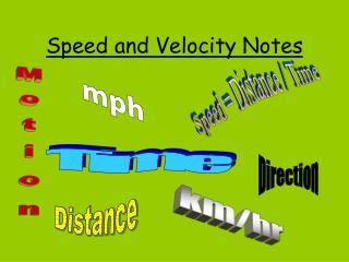 Speed and Velocity Notes