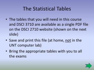 The Statistical Tables