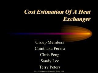 Cost Estimation Of A Heat Exchanger