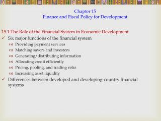 Chapter 15 Finance and Fiscal Policy for Development