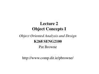 Lecture 2 Object Concepts I