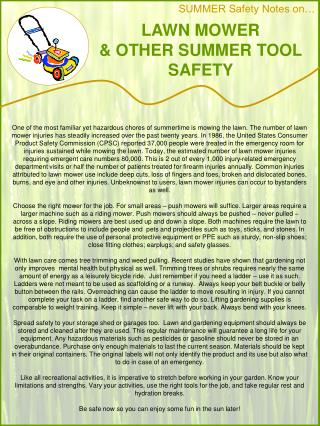 LAWN MOWER                      & OTHER SUMMER TOOL SAFETY