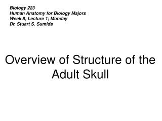 Biology 223 Human Anatomy for Biology Majors Week 8; Lecture 1; Monday Dr. Stuart S. Sumida