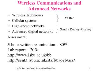 Wireless Communications and Advanced Networks