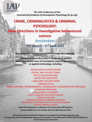 The  12th Conference of the  International Academy of Investigative  Psychology (ia-ip)