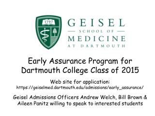 Early Assurance Program for Dartmouth College Class of 2015