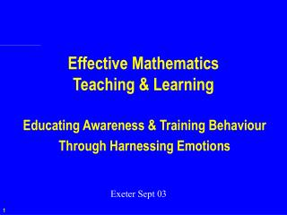 Effective Mathematics  Teaching & Learning