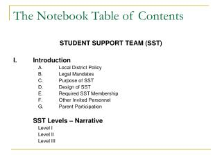 The Notebook Table of Contents