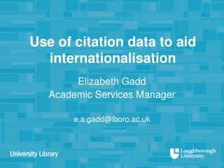 Use of citation data to aid internationalisation