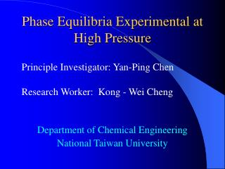 Phase Equilibria Experimental at High Pressure