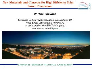 New Materials and Concepts for High Efficiency Solar Power Conversion