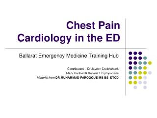 Chest Pain Cardiology in the ED