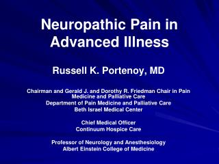 Neuropathic Pain in Advanced Illness