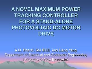 A NOVEL MAXIMUM POWER TRACKING CONTROLLER FOR A STAND-ALONE PHOTOVOLTAIC DC MOTOR DRIVE