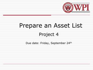 Prepare an Asset List