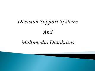 Decision Support  Systems And  Multimedia Databases