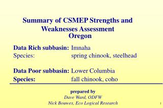 Summary of CSMEP Str engths and Weaknesses Assessment
