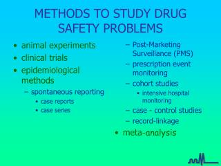 METHODS TO STUDY DRUG SAFETY PROBLEMS
