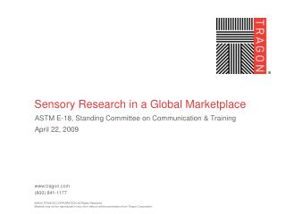 Sensory Research in a Global Marketplace